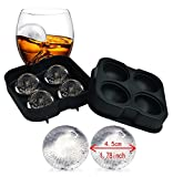Ice Ball Mold Sphere Silicone! 6 Ice Rounds Maker 4x4.5cm,Perfect for Japanese Whiskey, Cocktail Ice ball maker mould (Black) (Ice black)