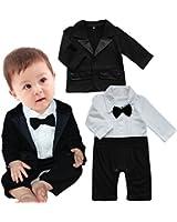 iEFiEL Neugeborenes Baby-Jungen 2tlg. Bekleidung Set Overall Strampler Gentleman Smoking Anzug Festliche Kleidung