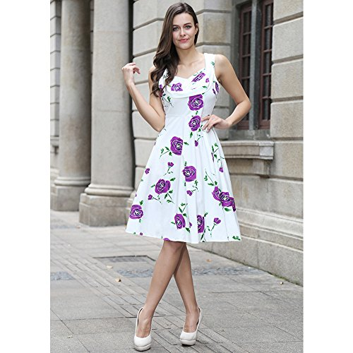 Le donne Vintage stampa floreale del partito scollo a V Abito senza maniche dell'oscillazione vestito da cocktail Senza maniche - Flower Stampa Bianco / Viola