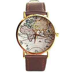 Old World Map Roman Numbers Quartz Wrist Watch Brown Strap