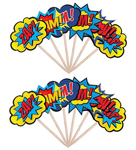 51huNsrC%2BkL - AK Giftshop Call out Speak - Burbujas de Dibujos Animados de superhéroes para cumpleaños, Eventos, Comida para Fiestas, Cupcakes, Palillos y Decoraciones para Banderas de Alimentos (Pack de 14)
