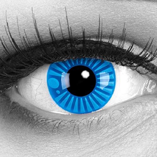 Meralens A0279 Blue Sharingan blaue Kontaktlinsen mit 60ml Pflegemittel mit Behälter ohne Stärke. Perfekt zu Halloween, Fasching und Karneval. 1er Pack (1 x 2 ()