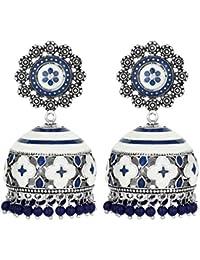Peora Indian Traditional Handcrafts Meenakari Enamel Work Jhumki Jhumka Earrings for Women/Girls
