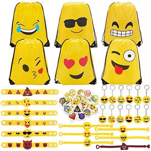 (Konsait 70 Pack Emoji Turnbeutel, Emoji Schlüsselanhänger Tasche anhänger, Emoji Armbänder, Große Emoji Tattoos Aufkleber für Kindergeburtstag Gastgeschenk Party Mitgebsel)