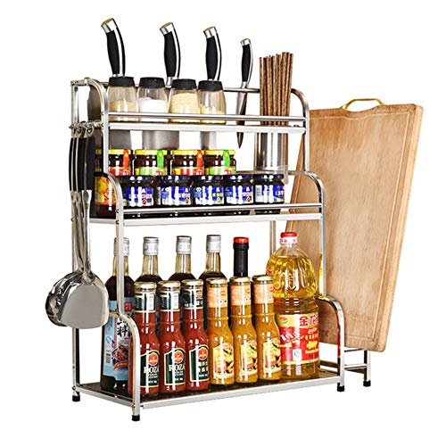 3-Tier Kitchen Spice Rack With Knife Holder, Chopping Board Holder, Cutlery Holder And 6 Hooks, Save Space Perfect for Storing Spices, Sauce, Condiments, Tea