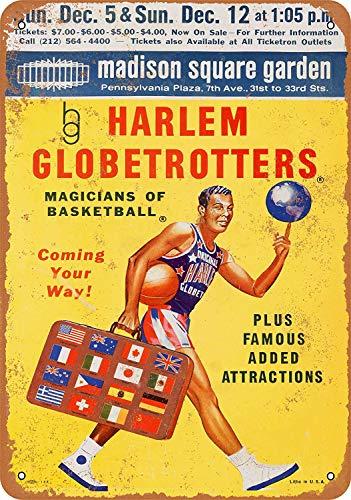 Garden Club Teller (HiSign Harlem Globetrotters Madison Square Garden Vintage Blechschild Antike Metall gemälde Retro Wandschild Teller Poster Kaffee-Dekoration für Zuhause Club Bar Café Hotel)