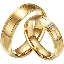 CARTER PAUL Bandas de boda anillo de oro 18K del acero inoxidable del diamante de la