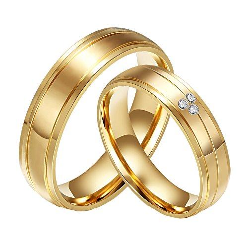 CARTER PAUL Paar Edelstahl Diamant CZ 18K Gold Ring Wedding Bands, Herren, Größe 65 (20.7)