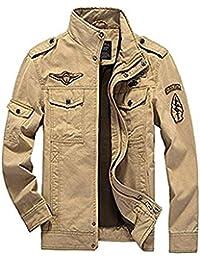 Newbestyle Printemps et Automne Veste Militaire Blousons Hommes Veste en Coton Col Manteau Veste