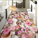 Syssyj Benutzerdefinierte Mural Tapete 3D Conch Blumen Bodenfliesen Malerei Aufkleber Europäischen Stil Wohnzimmer Bad Pvc Vinyl Tapete 3 D-200X140CM