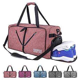 SUNPOW 65L Faltbare Reisetasche, Packbare Sporttasche mit Schuhfach Gym Fitness Tasche für Herren and Frauen Wochenend Handgepäck Tasche Reisegepäck mit Schulterriemen - 100% Robust