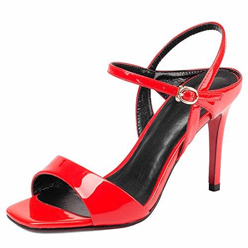 Estate rossa di cuoio alla moda fibbia Hairtail sandalo dell'alto tallone della ragazza gules
