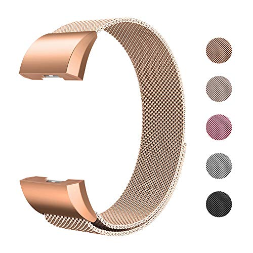 Fulwart Ersatzarmbänder Kompatibel für Fitbit Charge 2,Milanese Loop Edelstahl Verstellbare Ersatz Armbänder mit Magnetverschluss für Fitbit Charge 2,Klein- Roségold