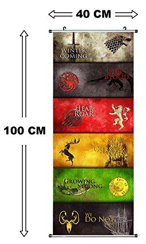 Großes Game of Thrones Rollbild / Kakemono aus Stoff Poster, 100x40cm, Motiv: Mottos der Häuser - 2