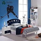 ljradj Wandtattoo Schlafzimmer Hockey Spieler Eishockey Sport Vinyl Tapete Aufkleber Removeble Wohnkultur rot 84X62 cm
