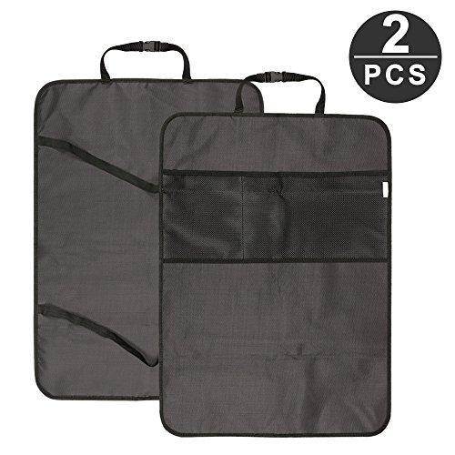 [2 Stück] Auto-Rückenlehnenschutz, IWILCS Auto Rücksitz Organizer und Autositz Schoner mit 2 extra großen leicht zugänglichen Taschen autositz schutz (schwarz)