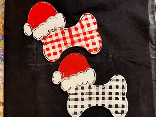 Rummy Weihnachtsschild für Weihnachten, Knochen, Nikolausmütze, Knochen, Kranz -