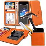 Spyrox - Homtom HT20 (4.7 inch)- Orange Hulle Klemme Stil Geldbörse PU Leder Schutzhülle mit gehärtetem Glas