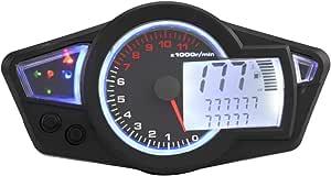 Ebtools Motorrad Tachometer Universal Motorrad Motorrad Digital Lcd Kilometerzähler Drehzahlmesser 15000 Rpm Mit Geschwindigkeitssensor Auto