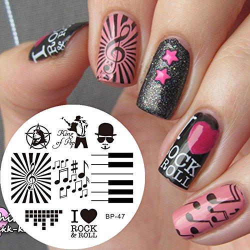 motif d'estampage pour art d'ongles plaque métallique art d'ongles modèle d'estampage Musique - AP47 - FashionLife