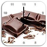 barretta di cioccolato Delicious, muro di diametro 28 centimetri orologio con il nero ha le mani e il viso, oggetti di decorazione, Designuhr, composito di alluminio molto bello per il soggiorno, studio