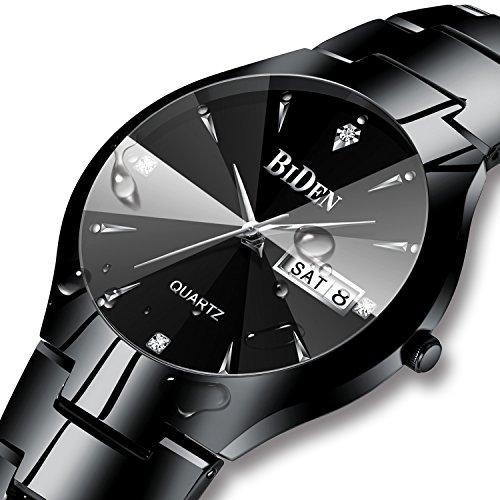 Herren Schwarz Uhren Männer Edelstahl wasserdichte Uhr Tag Datum Kalender Analog Quarz Herren Armbanduhren Luxus Geschäft Klassische klassische Designer-Uhren für Männer