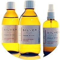 Preisvergleich für PureSilverH2O - 600ml Kolloidales Silber (2x 250ml/25ppm) + Spray (100ml/50ppm) Reinheit & Qualität seit 2012