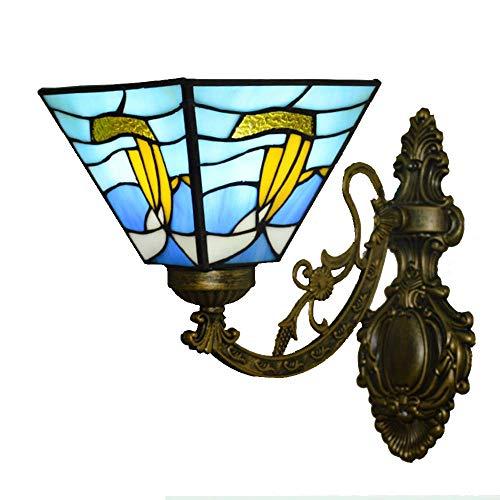 ▶ * Europäischer Tiffany-Stil Segelboot-Wandlampe Mittelmeerfarbe Glaslampenschirm Einfache kreative Wohnzimmer der Wohnzimmer Schlafzimmer Bedside Study Porch Villa Fixture 220 / 240W A +++ ◀