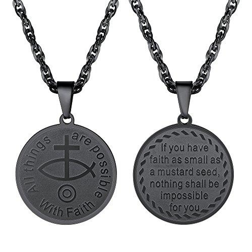 PROSTEEL Halskette Edelstahl Christliches Fisch-Symbol Anhänger Jesus Christus Kreuz Religion Modeschmuck für Herren, Schwarz