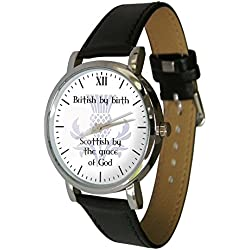 British by birth, Scottish by the grace of God watch. Genuine Leather Strap