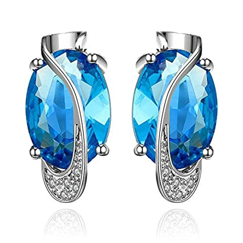 Adisaer Stud Earrings for Women Gold Plated Birthstone September Blue CZ Sapphire Earring Stud for Bridal