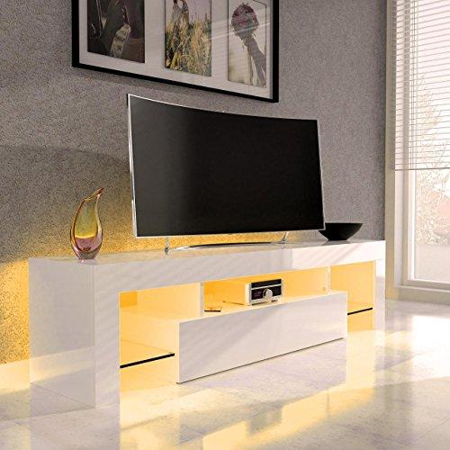 SANZARO TV Lowboard Board Schrank Fernsehtisch HiFi Hochglanz LED Beleuchtung 149 cm WEISS