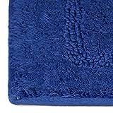 Relaxdays Badteppich Blau BENNY 100% Baumwolle, maritim, Badvorleger und Badläufer, 50 x 70 cm, waschbar, Teppich, dunkelblau - 4