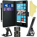BAAS® Noir Etui Housse Coque en Cuir Portefeuille pour Nokia Lumia 520 + 3 x Film de Protection d'Ecran + Stylet Pour Ecran Tactile