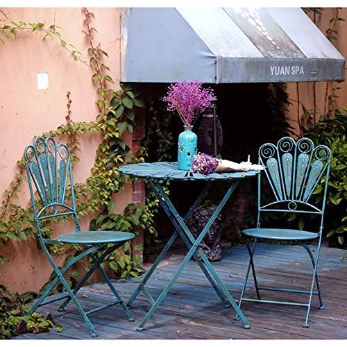 Gusseisen Möbel Outdoor Garten Klappstuhl Und Tisch Blau Pfauenfeder Design Retro-Set