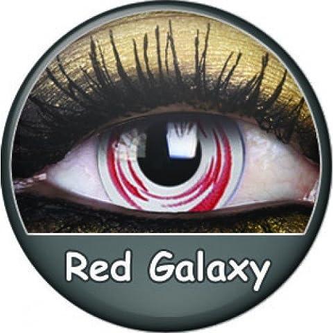 PHANT RED GALAXY farbige Kontaktlinsen rot weiss manga cosplay halloween zombie vampire kostüme (Vampire Zombie-kostüme)