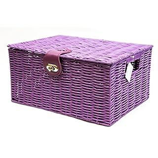 Arpan Aufbewahrungskorb, mit Deckel und Verschluss, aus Kunstharz, gewebt,mittlere Größe, Violett