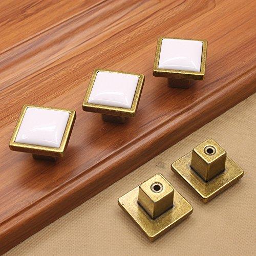 KFZ Moderner Minimalist Schrank Griff quadratisch Einlochbatterie zieht, Schublade Kommoden, Schrank Tür Möbel Schrank Knöpfe, Zink Legierung hadware 1(hao334 bronze-white) -