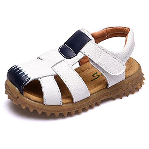 Jungen Mädchen Sandalen Kinder Schuhe Atmungsaktiv Sommerschuhe Sandaletten Strandschuhe Klettverschluss Geschlossene Outdoor Sport Beach Schuhe für Kleinkind Weiß 27