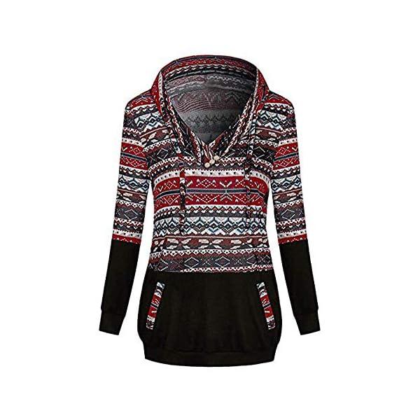 Gusspower Damen Weihnachtspullover Mit Kapuze Langarm Lustig Christmas Sweater Nähen Hoodie Sweatshirt Neuheit Rot Top