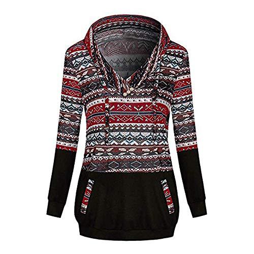 1d3701f7087200 RETUROM Moda Estampadas de Blusas de Mujer Invierno Camisetas Hoodie  Pullover de Mangas Largas Hippie