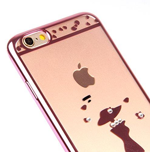 iPhone 6 Silikon Hülle,iPhone 6S Case - Felfy Ultra Slim weicher Gel TPU Transparent Handyhülle Schutzhülle Ultradünnen Kratzfeste Plating Bling Funkeln Diamant Transparenter Freier Case Tasche Etui f Rose Gold Case Mädchen
