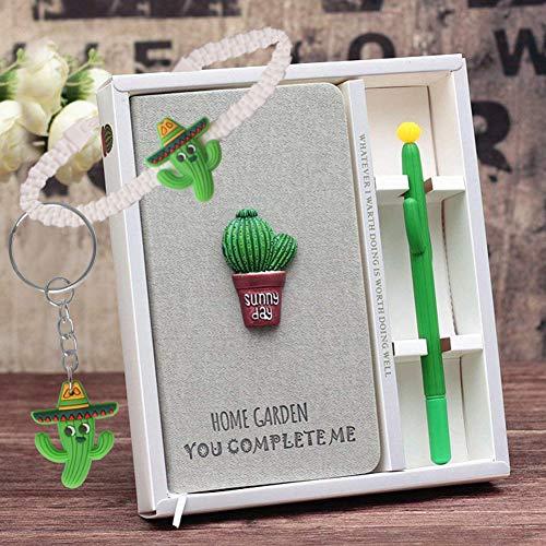 Kaktus Notizbuch Gelstift Set - Kaktus Geheim Tagebuch Mädchen und Kaktus Stifte,Journal Reisetagebuc Schulbedarf Perfekt als Festival Weihnachts Geburtstag Geschenk für Kinder 3 4 5 6 7 8 9 + Jahre