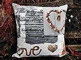 Kissenhülle Kissen romantisch Herz rustikal grau Dekoration!