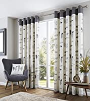 """Feather Grey Cream Beige White 66x54"""" 168x137cm Lined 100% Cotton Ring Top Curtains by Curtains"""