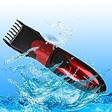 SPEED Haarschneider Akku Abwaschbar Haars Bartschneider Haartrimmer Haarschneidemaschin Rote mit Ladegerät,Kabel,Kamm, Reinigungsbürste, Kammaufsatz, Schmieröl