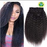 Topuhair Yaki Clips Tissage Cheveux Femme Noir 1B Cheveux Kinky Curly Clips 8Pcs/Set 120g Remy Cheveux Humain Brésil (22Pouce/55cm, 1B Natural Noir)