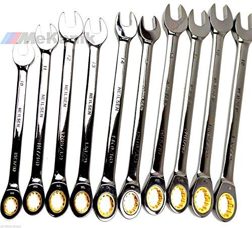 Nouvel ensemble de clés à cliquet métrique 10–19 mm AF SAE 3/20,3 cm – 3/10,2 cm Combinaison de clés