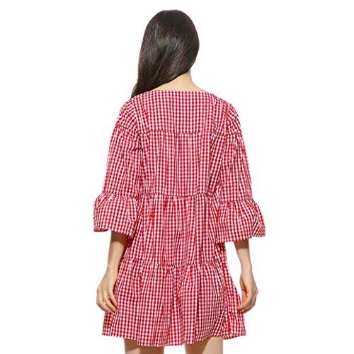 cedaac91cb ... FEITONG Frauen Kleid Plus Size Plaid gefaltet Kleid Sommer Casual  Gitter Rock Rot ...
