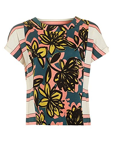 max-mara-weekend-veleno-womens-t-shirt-floral-stripe-panel-multicoloured-top-multi-s